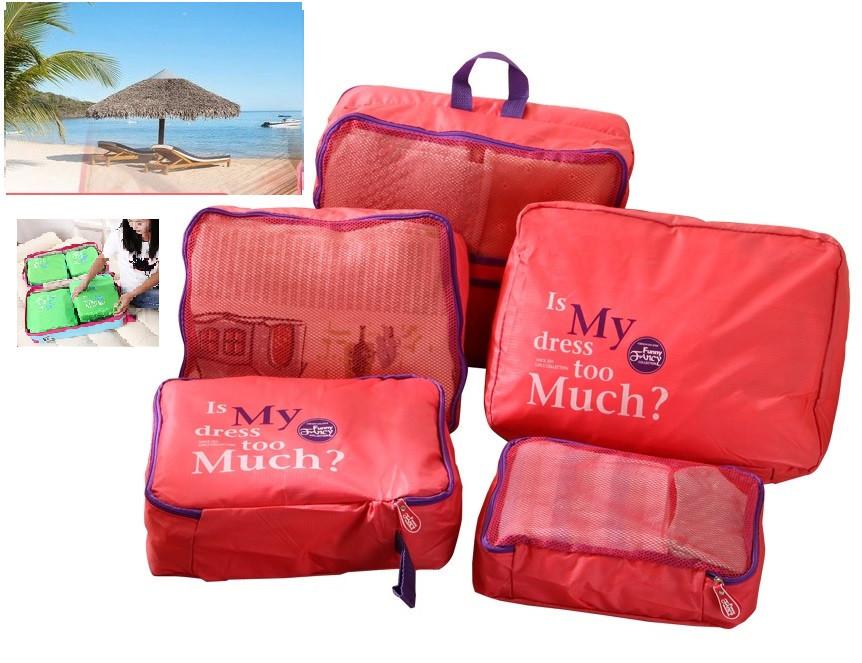 Дорожный набор из 5 сумок-органайзеров, розовый ( сумки органайзеры )