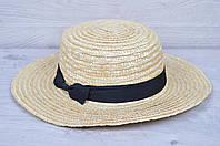 """Детская шляпа """"Канотье"""" Размер 56-58 см. С широким полем (8 см). Оптом."""