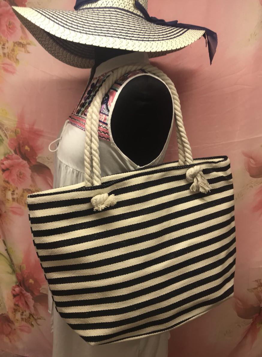Большая женская сумка в полоску для пляжа или покупок