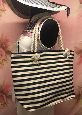 Большая женская сумка в полоску для пляжа или покупок, фото 2