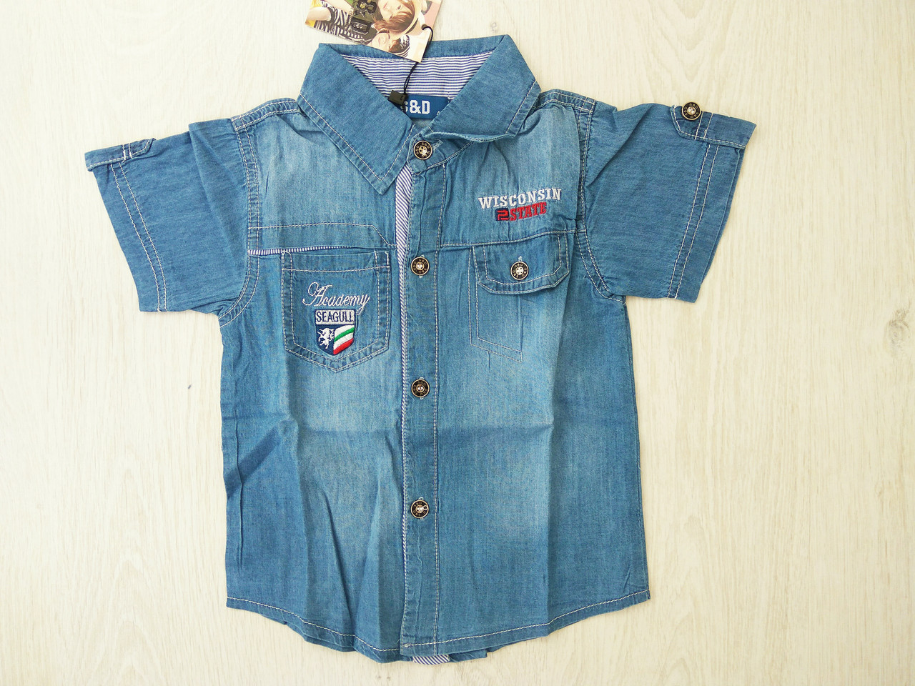 Рубашка джинсовая для мальчиков , котон 100% , Венгрия , S&D, рр  104,128,  арт.281 ,