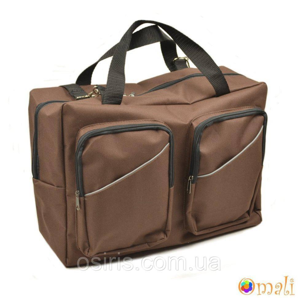 Сумка органайзер для коляски универсальная с накладными карманами, коричнева