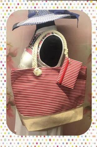 Вместительная женская сумка в полоску в комплекте с кошельком, фото 2