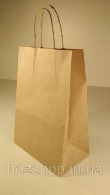 Пакет бумажный с ручками 28х19х11,5 коричневый №6 (25 штук)