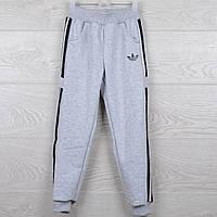 """Спортивные штаны подростковые """"Adidas реплика"""". 7-12 лет (36-44 размер). Серые с черными вставками. Оптом"""