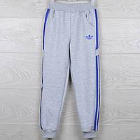 """Спортивные штаны подростковые """"Adidas реплика"""". 7-12 лет (36-44 размер). Серые с синими вставками. Оптом"""