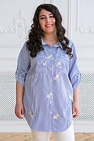 Женская рубашка в полоску для полных женщин Кром голубая