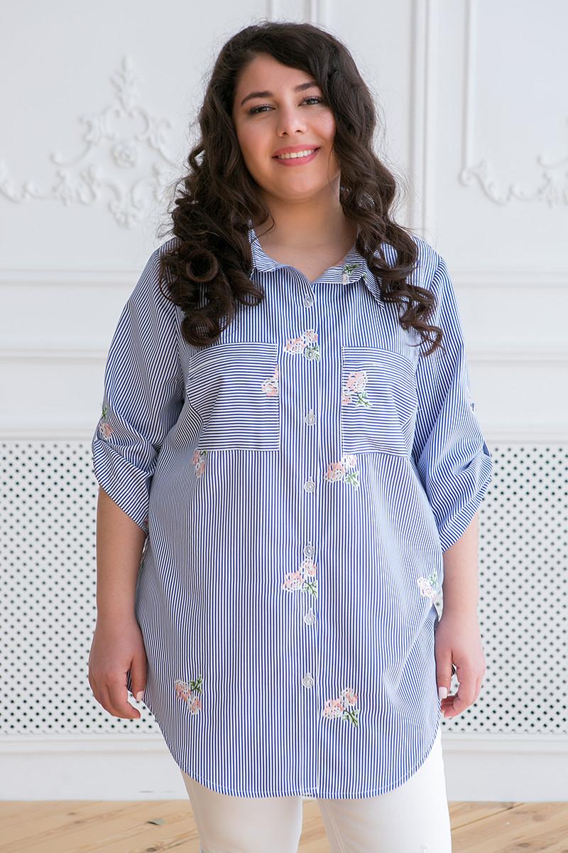 a1bcf2a3f31 Женская рубашка в полоску для полных женщин Кром голубая (56-60) - DS
