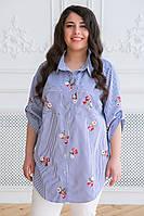 Рубашка с вышивкой для полных женщин Кром