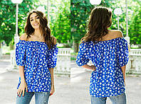 Синяя летняя легкая штапельная блуза свободного кроя с принтом и коротким рукавом. Арт-4101/85