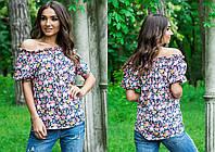 Цветная летняя легкая штапельная блуза свободного кроя с принтом и коротким рукавом. Арт-4101/85