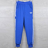 """Спортивные штаны подростковые """"Adidas реплика"""". 7-12 лет (36-44 размер).  Электрик с белым принтом. Оптом"""