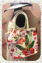 Яркая женская сумка с изумительным фламинго для пляжа или покупок