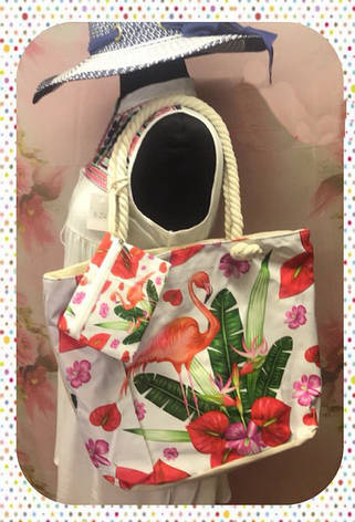 Яркая женская сумка с изумительным фламинго для пляжа или покупок, фото 2