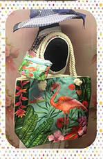 Яркая женская сумка с изумительным фламинго для пляжа или покупок, фото 3