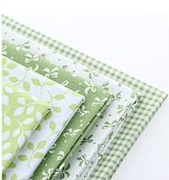 Набор тканей (Ткань) Бело-зеленые для Пэчворка 40x50 см 5 шт