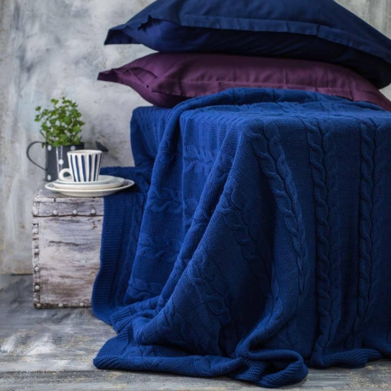 Покрывало вязаное Vividzone КОЛОС 180х210 синий