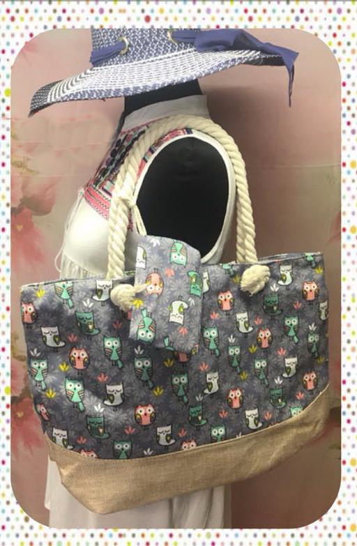 Яркая женская сумка с оригинальным принтом для пляжа или покупок