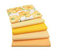 Набор тканей (Ткань) Бело-желтые Маки Полоска Клетка Горох для Пэчворка 40x50 см 5 шт, фото 1