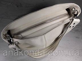 214  Натуральная кожа, Объемная сумка женская Сумка через плечо Кожаная сумка женская Кожаная сумка бежевая, фото 2
