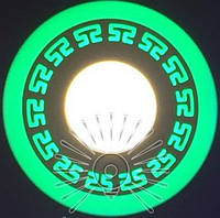 """LED светильник 6+3W """"Грек"""" с зеленой подсветкой / LM 555 круг, фото 1"""