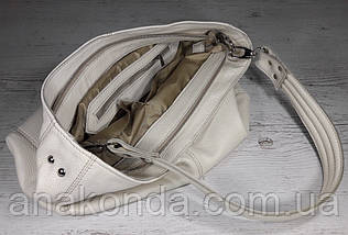 214  Натуральная кожа, Объемная сумка женская Сумка через плечо Кожаная сумка женская Кожаная сумка бежевая, фото 3