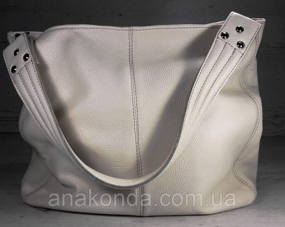 214  Натуральная кожа, Объемная сумка женская Сумка через плечо Кожаная сумка женская Кожаная сумка бежевая