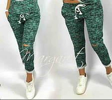 Стильные и модные штаны 7/8 с разрезами. Размеры S M L Турция, фото 3
