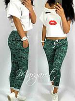 Стильные и модные штаны 7/8 с разрезами. Размеры S M L Турция, фото 2