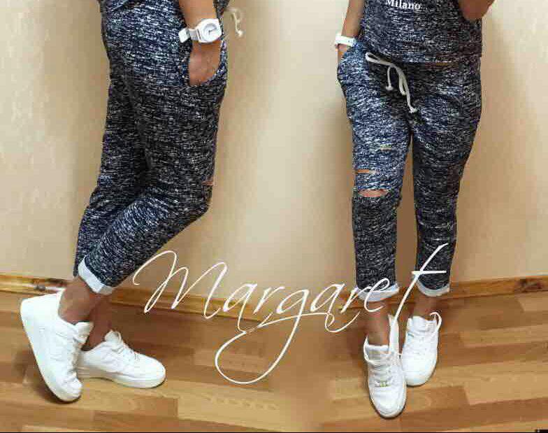 Стильные и модные штаны 7/8 с разрезами. Размеры S M L Турция