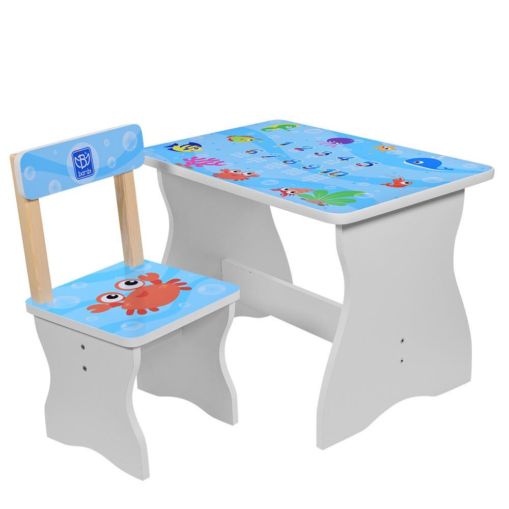 Столик со стульчиком деревянный VIVAST 504-40 рыбки ***