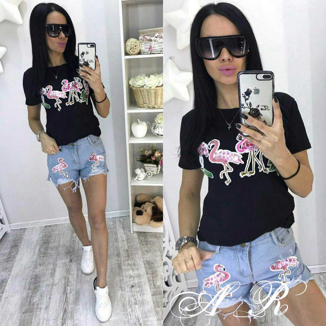 Костюм футболка и джинсовые шорты, размеры S,M L XL