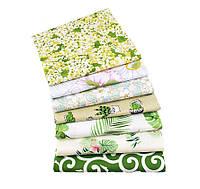Набор тканей (Ткань) Бело-зеленые оттенки Цветы Фламинго для Пэчворка 40x50 см 7 шт, фото 1