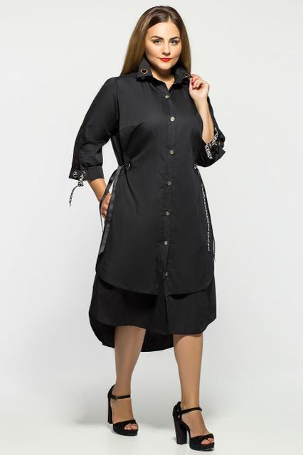4062ad0fc77c Черное летнее хлопковое платье для полных Евгения - DS Moda - женская  одежда оптом от производителя