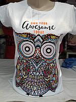 Женская футболка трикотажная белая Сова р44-48, фото 1