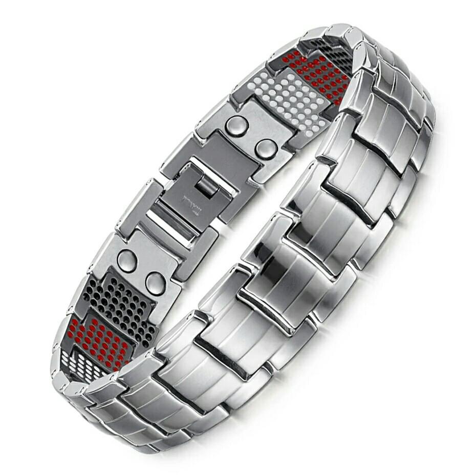 Магнитный браслет серебрянный,титановый мужской широкий