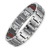 Магнитный браслет серебрянный,титановый мужской широкий, фото 1