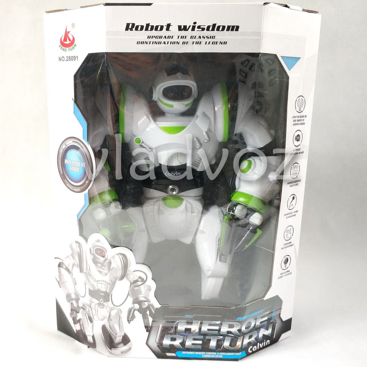 Робот на пульті управління радіокерована іграшка на акумуляторах Robowisdom білий з салатовим - фото 6