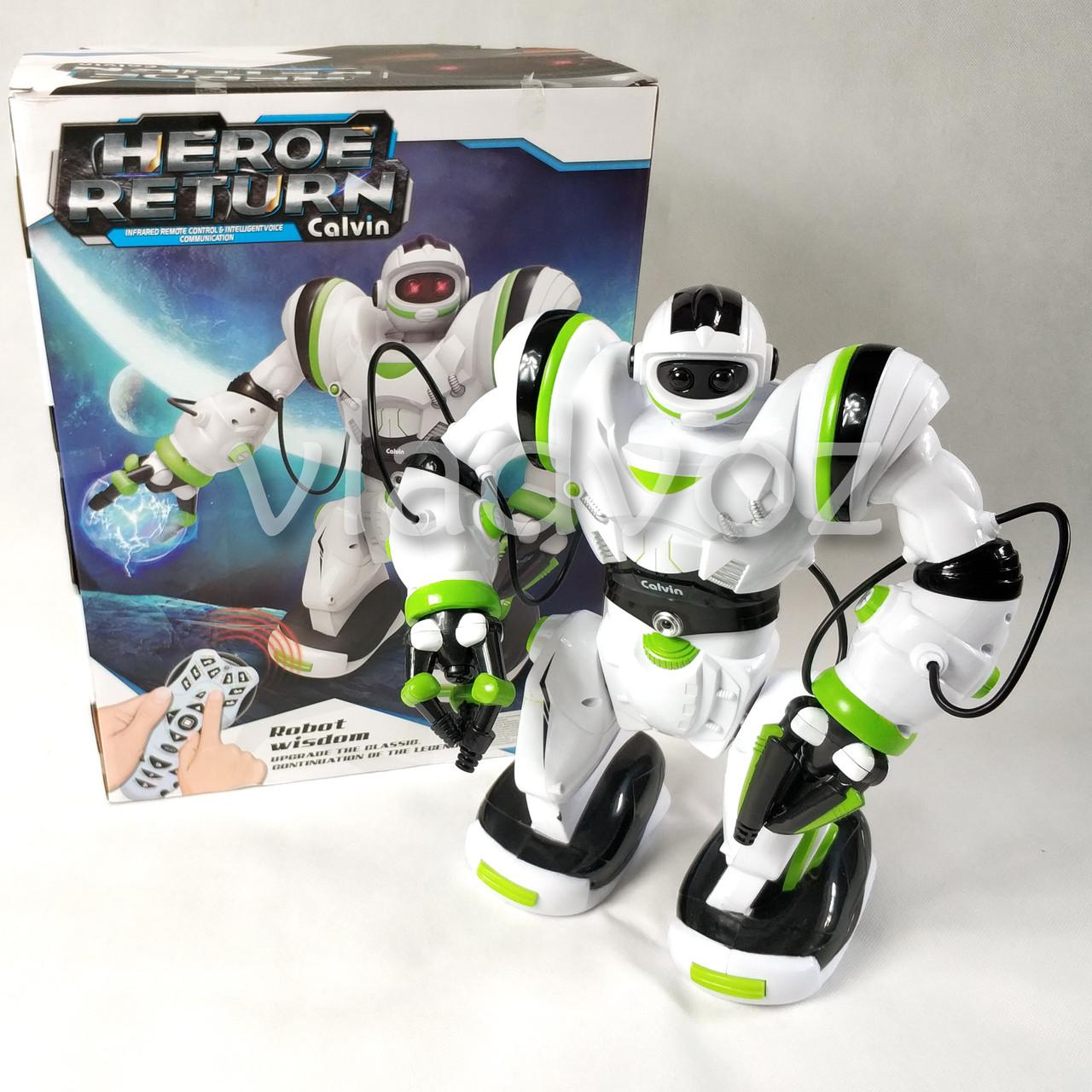 Робот на пульті управління радіокерована іграшка на акумуляторах Robowisdom білий з салатовим - фото 1