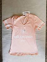 Женская футболка трикотажная пудровая р42-44