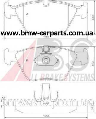 Тормозные колодки передние BMW E39 Abs, фото 2