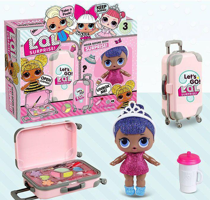"""Набор кукла LOL ВВ 39-2 с чемодан и косметикой, """"2 в 1 + подарок"""" в коробке"""