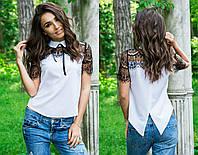 Белая женская летняя блуза с коротким рукавом и черным кружевом на плечах . Арт-4114/85