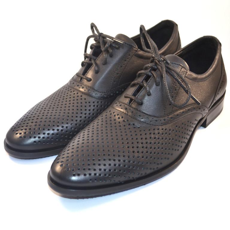 Летние мужские туфли кожаные черные в сеточку Rosso Avangard Felicite Black Perf
