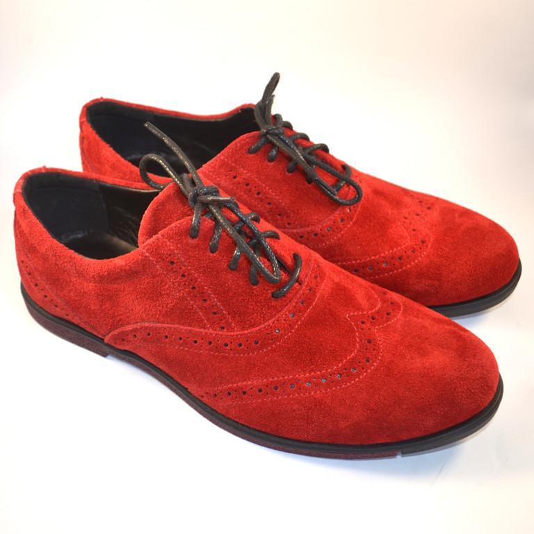 Красные туфли броги оксфорды мужские замшевые Rosso Avangard Romano Special Red Solferino Vel