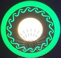 "LED светильник 3+3W ""Завитки"" с зеленой подсветкой / LM 534 круг, фото 1"