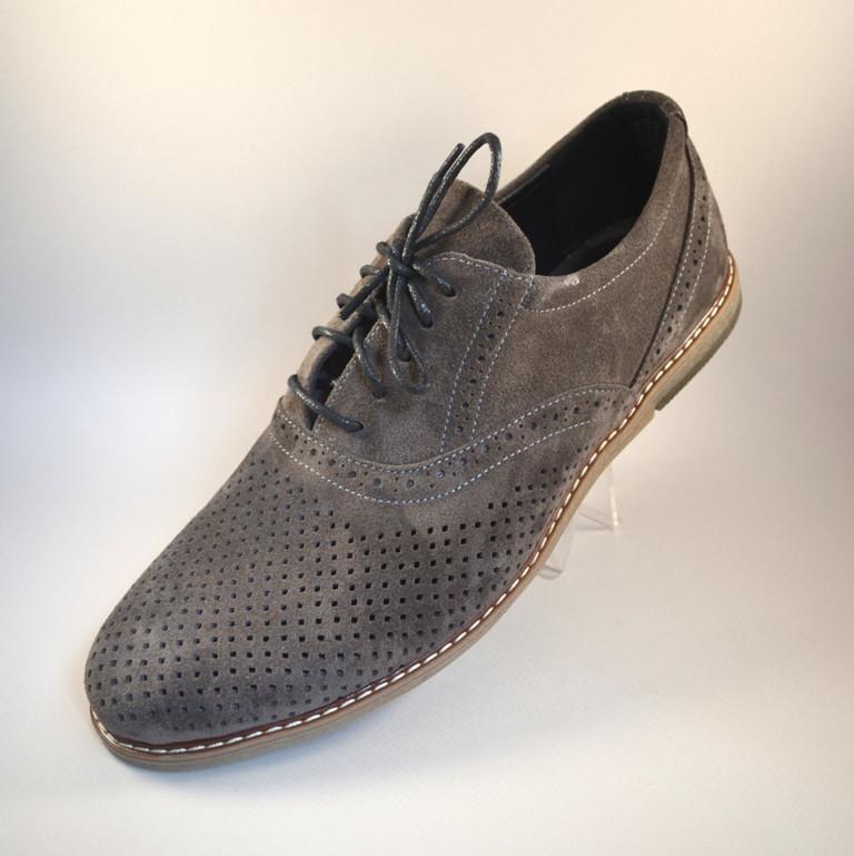 Летние туфли мужские замшевые с перфорацией Rosso Avangard Romano Grigio camoscio perforato серые
