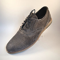 Летние туфли мужские замшевые с перфорацией Rosso Avangard Romano Grigio camoscio perforato серые, фото 1
