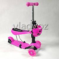 Детский самокат Itrike Scooter Micro Mini 3в1 с сидением и корзинкой божьей коровкой фиолетовый