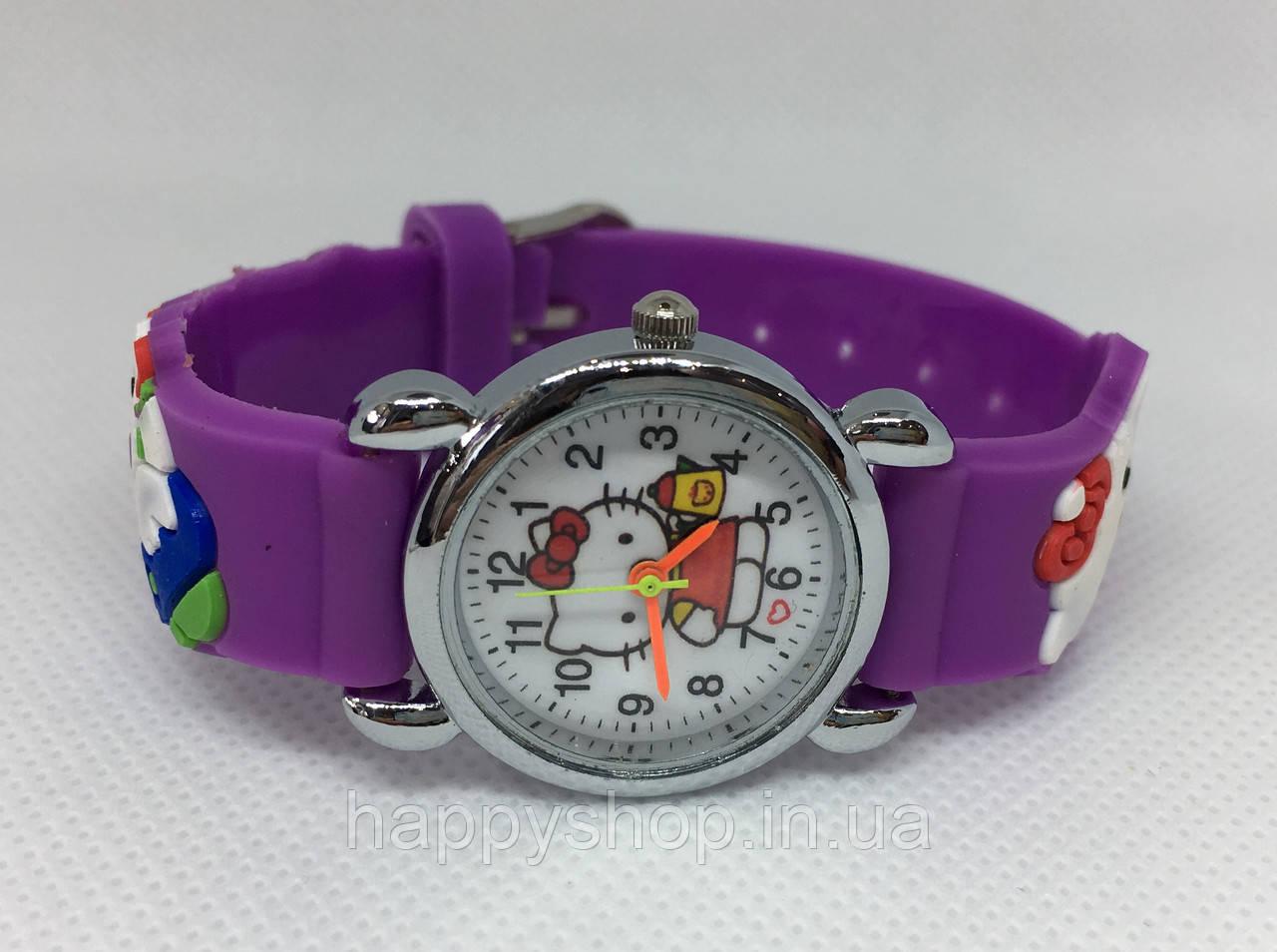 Детские наручные часы Hello Kitty на каучуковом ремешке (сиреневые)